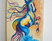 Horse Art Wild Water Horse Run Free into a golden sunset // Colorful Original Art Painting Acrylic // Hand painted Canvas 30x40x4 cm