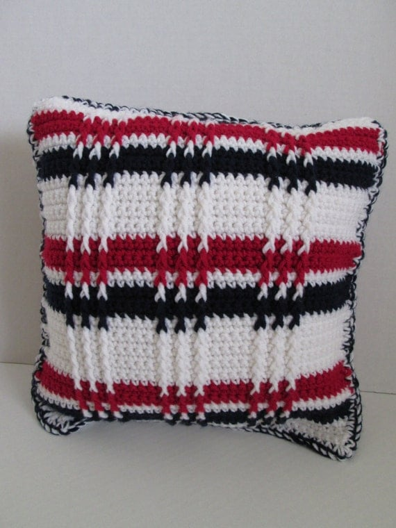 crochet pillow patriot handmade pillow cover red white and