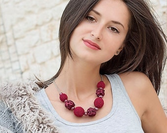 Burgundy necklace with crocheted and fabric beads