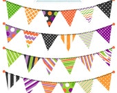 Halloween Bunting Cute Digital Clipart - Commercial Use OK, Garland Bunting Clipart, Halloween Graphics