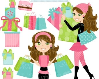 Shopping Spree Brunette Cute Digital Clipart, Commercial Use OK, Woman Shopping Clipart, Shopping Graphics