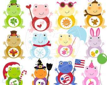 Seasonal Frogs Cute Digital Clipart - Commercial Use OK - Holiday Frogs, Frog Clipart, Frog Graphics, Cute Frogs, Digital Art