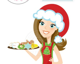 Brunette Christmas Cookie Baker Character Illustration, Cartoon Illustration, Woman with Christmas Cookies, Christmas Character