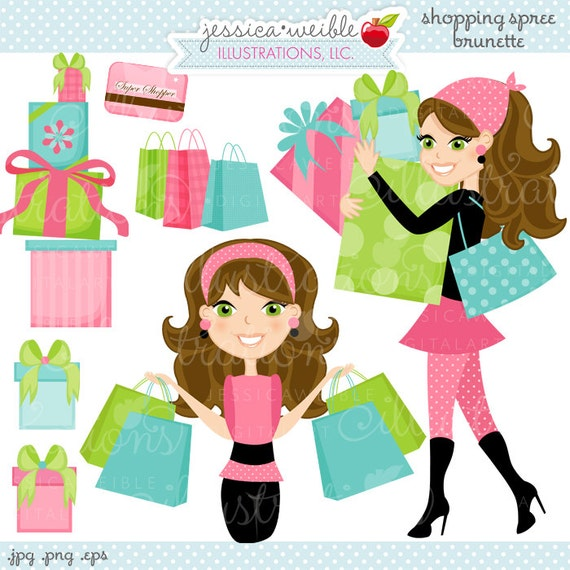 Shopping Spree Brunette Cute Digital Clipart, Commercial Use OK ...