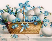Easter Basket with Forget Me Nots and Eggs Instant, Downloadable, Printable Digital Art Image