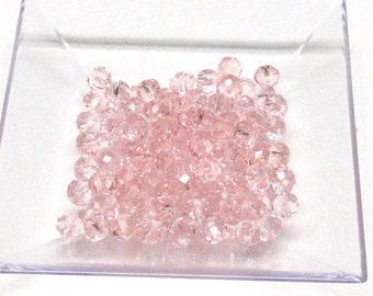 4x6mm Pink Faceted Crystal Rondelle Beads