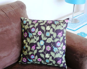 SALE HALF PRICE Cushion Cover  pink and blue flowers with green leaves  40cm 16 inches