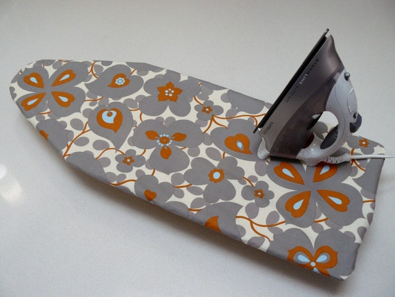 ironing board cover table top gray blue and burnt orange. Black Bedroom Furniture Sets. Home Design Ideas
