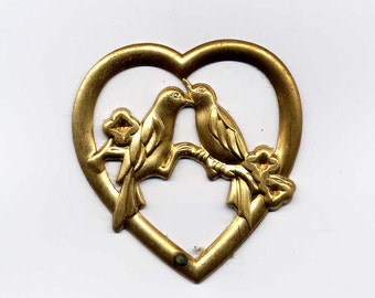 4 Hearts with Lovebirds Brass Metal Stampings