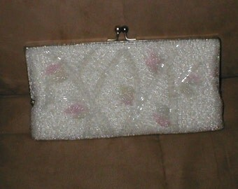 Vintage Pink & White Beaded Evening Bag Clutch Purse