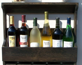6 Bottle Wall Mount Wine Rack With 4 Glass Holder, Ebony Finish