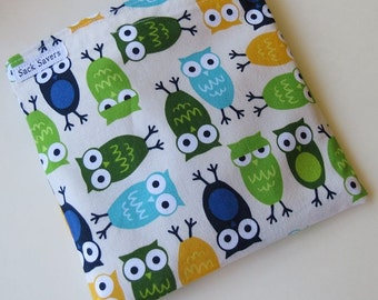 Reusable Eco Friendly Sandwich or Snack Bag Urban Zoologie Owls