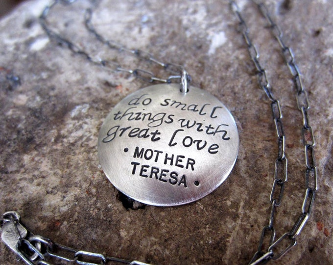Mother Teresa Love Quote Necklace (or Your Personalized Quote)