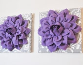 "TWO Flower Wall Hangings -Lavender Purple Dahlias on Gray and White Damask 12 x12"" Canvas Wall Art- Baby Nursery Wall Decor-"