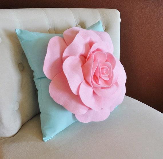 Baby Pink Rose on Aqua Pillow Baby Nursery Decor