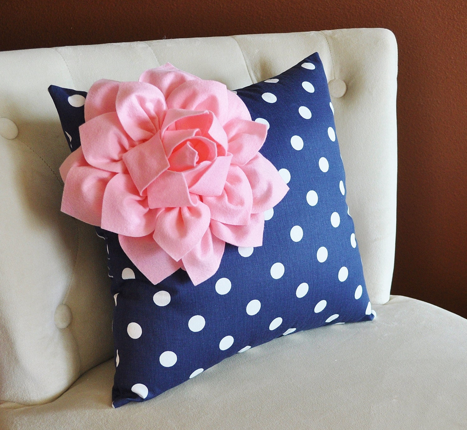 decorative pillow light pink corner dahlia on gray and white. Black Bedroom Furniture Sets. Home Design Ideas