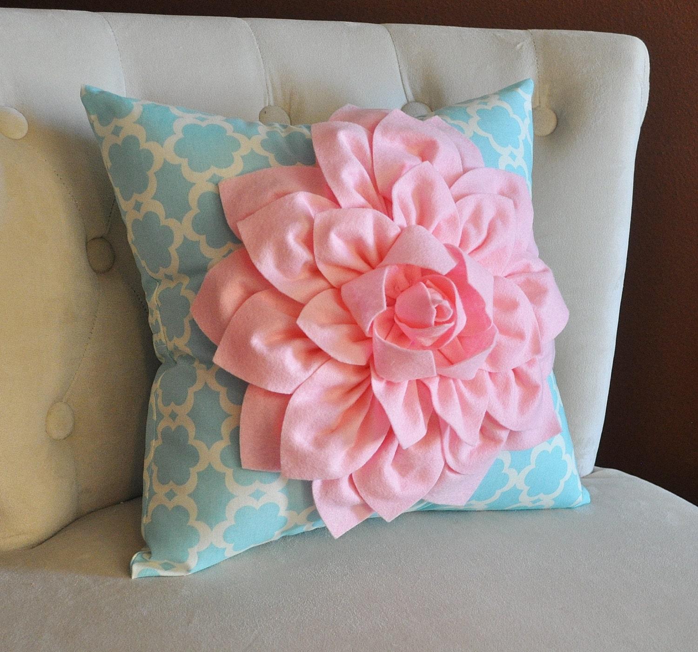 Light Pink Dahlia Flower on Blue Tarika Pillow Accent Pillow