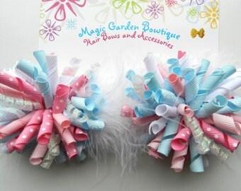 Korker Hair Bows, Princess Bows, Korker Bows, Pink and Blue Korker Bows, Korker Boiw Set
