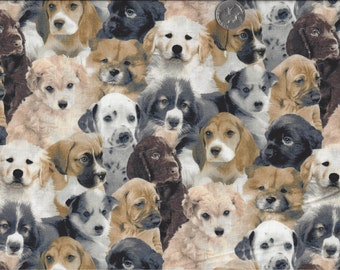 Puppies in a Row I Spy Dog Puppy Lab Cocker Boxer Poodle Husky Chow  BTFQ By the Fat Quarter