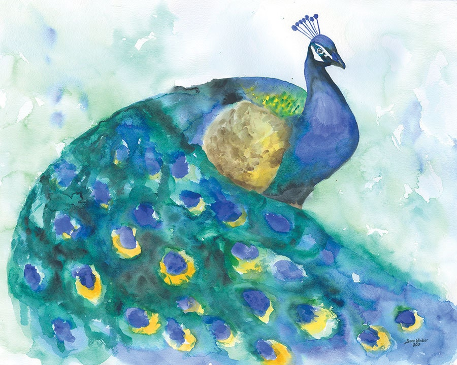 Watercolor Painting Peacock Blue Bird Giclee Print 10 x 8