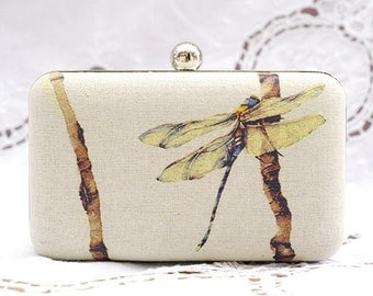 Dragonfly Box Clutch Hand Dyed Yellow Brown Insect Beige Shoulder Bag Party Prom Clutch Ivory Linen Bridesmaid Wedding Gift Purse Minaudiere