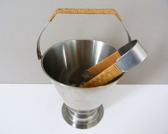 Mid Century Danish stainless steel ice bucket & tongs Vintage