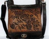 "Large Leather Messenger in Espresso with Wildflower Print The ""Urban Satchel"""