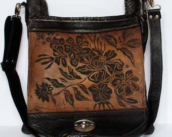 """Large Leather Messenger in Espresso with Wildflower Print The """"Urban Satchel"""""""