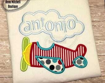 Plane applique embroidery design