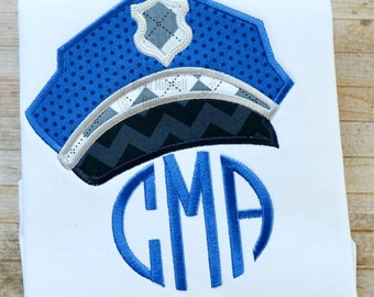 Police Hat applique embroidery design