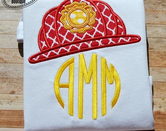 Fireman Badge Hat applique embroidery design