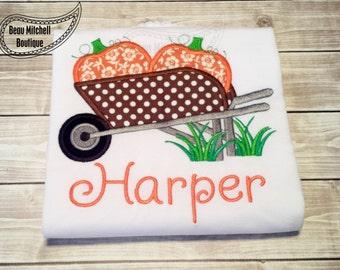 Wheelbarrow pumpkins applique embroidery design