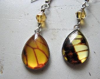 Butterfly wings | dangle earrings | faux | silver | yellow | mismatched earrings