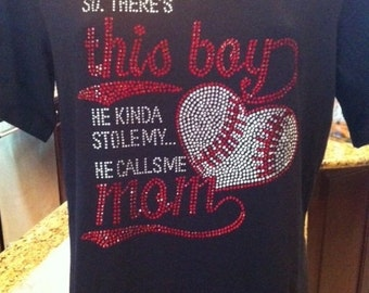 Baseball He Stole my Heart Rhinestone Heat Transfer-DIY