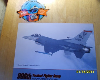 Military Photo, Military Decal,  906th Tactical Fighter Group Promotional  Photo and Sticker, Military Collectible, TFG Rhinos