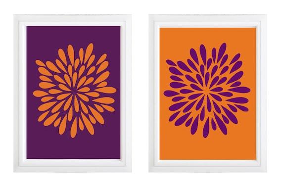Orange And Purple Flower Wall Art Pattern Purple And Orange