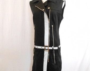 Zipper Dress Black Sleeveless Dress Mod 60's Style Size 16 Exposed Zipper Low Hip Belted Dress  Paola Frani Designer Dress