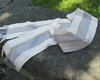 Mens Womens Zen Yoga Fashion Serenity Scarf Minimal Eco Natural Beauty Wellness Self Care Gift Sand Stone Beige Gray Hand Woven Cotton Scarf