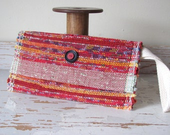 Boho Chic Bag, Fire Red Cotton Clutch Hand Bag, Folded Envelope Purse, Rustic Urban Summer Fall Beach Fashion Bag Bohemian Wristlet Handbag