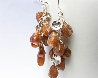 Raw Hessonite Garnet Earrings, Raw Gemstone Jewelry. Cascade Drop Earrings. Silver Dangle Earrings. Recycled Sterling Silver