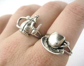 Matching Rings - Mother Daughter Ring Set - Best Friend Rings - Teapot Ring - Teacup Ring - Tea Cup Jewelry