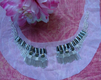 Delicate Neckline Applique Embellishment Necklace White Sparkly Beads on White Tulle Bridal Applique S120