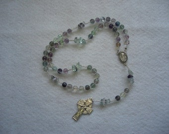 Fluorite beaded Irish rosary
