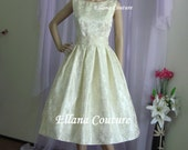Lucille - Vintage Inspired Tea Length Wedding Dress. Beautiful Retro Style Brocade.