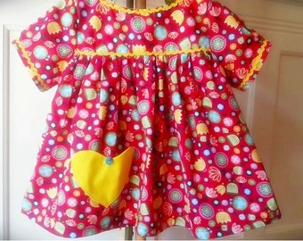 Lovely girl Blouse with yelow pocket hart short sleeves top toddler children
