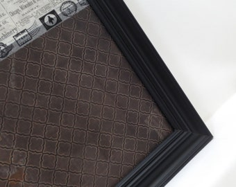 Magnetic Memo Board-Wall Decor - Magnet Board - Dry Erase Board - Organization-Framed Memo Board-Newsprint Pattern Split Design-Incl Magnets