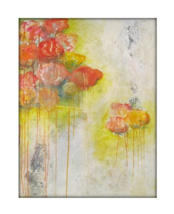 Abstract Flower Painting Peonies Floral Modern Acrylic