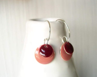Enamel Jewelry - Pink, Maroon, Oxblood, Geometric Earrings, Modern, Silver Hoops, Simple