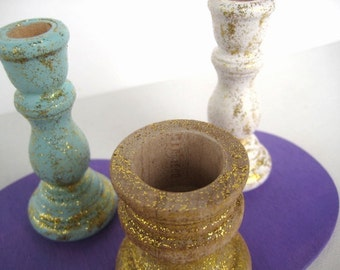 Small Unity Candlesticks: His, Hers, Ours in Glitter White, Glitter Blue and Glitter Gold on a Purple Heart Base -Personalizable