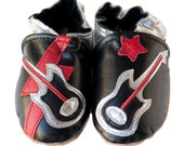 Custom order for Rebecca: Rock Star (baby shoes in all-leather, black with raspberry instead of red)